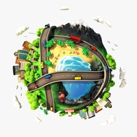 3D Cartoon Planet City 3D Model