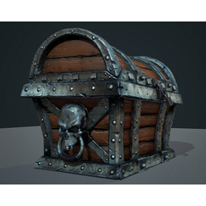 Game Ready Skull Treasure Chest 3D Model