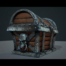 Game Ready Skull Treasure Chest 3D Model
