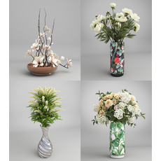 Flower Bouquet in Vase 3D Model