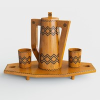 Wooden tray with jug and glasses 3D Model