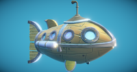 Steampunk Fish Submarine 3D Model