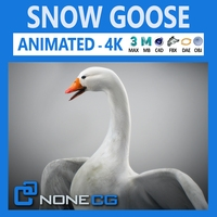 Animated Snow Goose 3D Model
