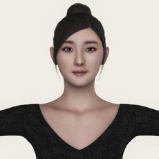 Realistic Beautiful Asian Girl 3D Model