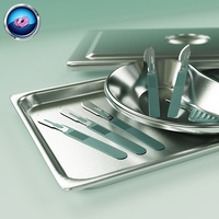3D Scalpels, Kidney Dish and Sterilization Tray model 3D Model