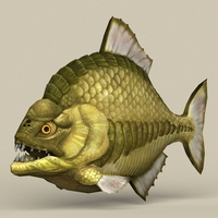 Game Ready Monster Fish 3D Model