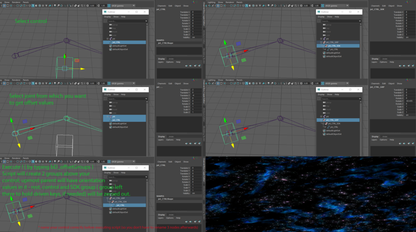 Offset groups above control for Maya - Free Character