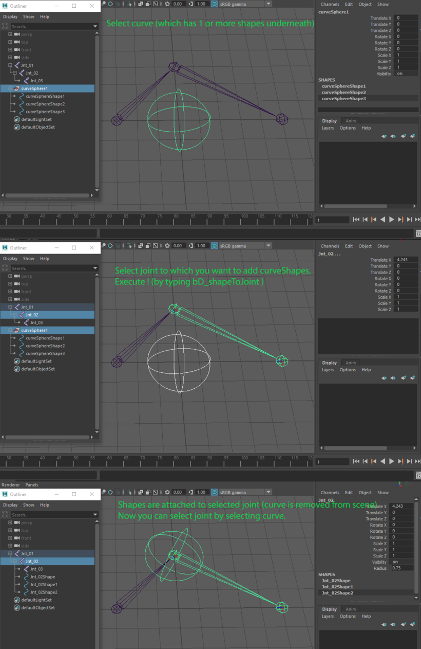 Attach shape(s) to joint for Maya - Free Character Scripts