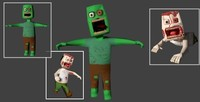 Zombie Character (LowPoly, Animated, Rigged, Textured) 3D Model
