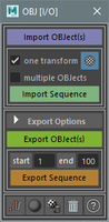 OBJ[I/O] - OBJ Sequences Import/Export 4.0.0 for Maya (maya script)