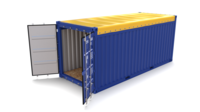 20ft Shipping Container Open Top 3D Model