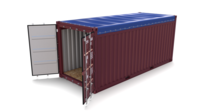 20ft Shipping Container Open Top 2 3D Model