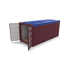 20ft Shipping Container Open Top no Cover 2 3D Model