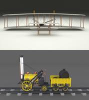 Rocket Locomotive and Wright Flyer Pack 3D Model