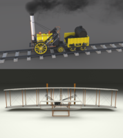 Animated Rocket Locomotive and Wright Flyer Pack 3D Model