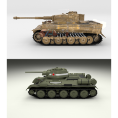 T34-76 Tiger Tank Early Pack with Interior 3D Model