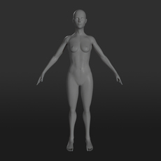 Female Character Base Mesh 3D Model