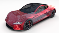 Tesla Roadster 2020 with interior and chassis 3D Model