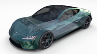 Tesla Roadster 2020 Green with interior and chassis 3D Model