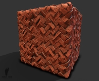 Orange Herringbone Brick Pattern 3d Game Texture!