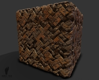 Damaged Herringbone Bricks Game Texture