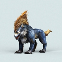 Fantasy Cartoon Wolf 3D Model