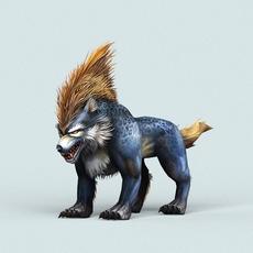 Fantasy Cartoon Wolf 3D Model
