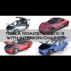 Tesla Roadster Model S X 3 3D Model