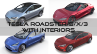Tesla Roadster Model S X 3 with interiors 3D Model