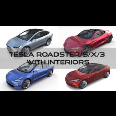 Tesla Roadster Model S X 3 with interiors 3D Model