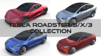 Tesla Collection (Roadster Model S X 3) 3D Model