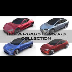 Tesla Collection (Roadster Model S X 3) 3D Model