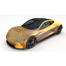 Tesla Roadster 2020 Yellow with interior and chassis 3D Model