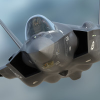 US Air Force F-35 AF-10 Lightning II with pilot 3D Model