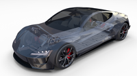 Tesla Roadster 2020 Midnight Silver with interior and chassis 3D Model