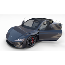 Tesla Roadster Midnight Silver with Interior 3D Model
