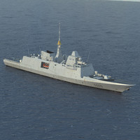 French Navy FREMM Frigate D650 Aquitaine 3D Model