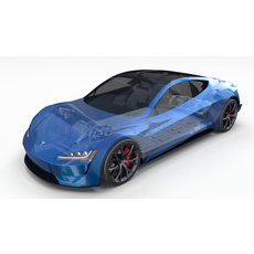 Tesla Roadster 2020 Electric Blue with interior and chassis 3D Model