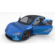 Tesla Roadster Electric Blue with Interior 3D Model