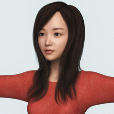 Realistic Beautiful Japanese Cute Girl 3D Model