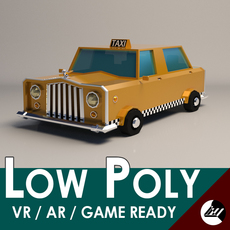 Low-Poly Cartoon Taxi Cab 3D Model