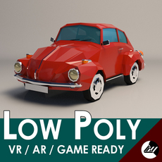 Low-Poly Cartoon VW Beetle 3D Model