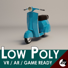 Low-Poly Cartoon Vespa Scooter 3D Model