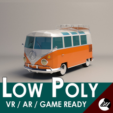 Low-Poly Cartoon VW Transporter Bus 3D Model