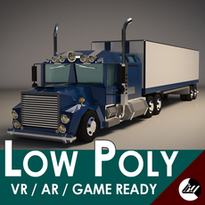 Low-Poly Cartoon Lorry Truck 3D Model
