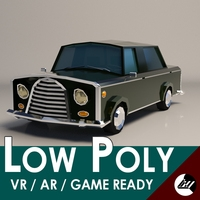 Low-Poly Cartoon Limousine Car 3D Model