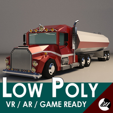 Low-Poly Cartoon Tank Truck 3D Model