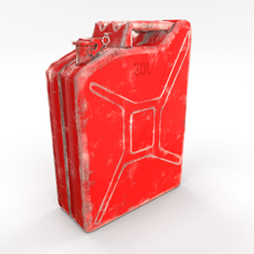 Jerry Can Low Poly 2 Worn PBR 3D Model