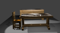 TABLE, CHAIR AND CHEST 3D Model