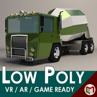 Low-Poly Cartoon Concrete Mixer Truck 3D Model